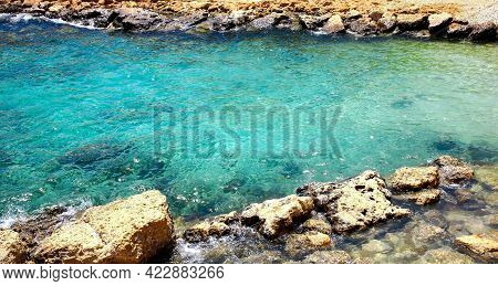 Clear Emerald Water In A Small Lagoon In Protaras On The Island Of Cyprus