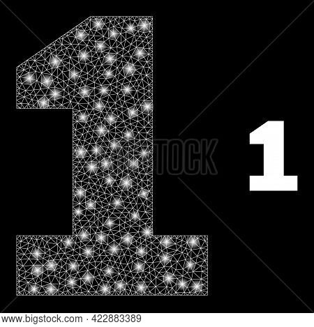 Sparkle Mesh Digit One With Lightspots. Vector Frame Based On Digit One Icon. Glowing Frame Mesh Dig