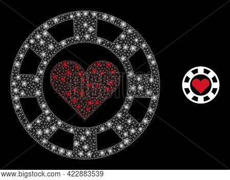 Flare Mesh Hearts Casino Chip With Light Spots. Vector Carcass Based On Hearts Casino Chip Icon. Fla