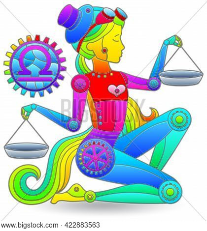 Illustration In The Style Of A Stained Glass Window With A Zodiac Sign Libra, Figure Isolated On A W