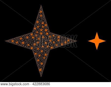 Constellation Network Space Star With Glowing Spots. Vector Grid Based On Space Star Icon. Constella