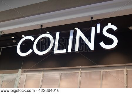Kazan, Tatarstan Russia - May 06 2021: Large Popular Clothes And Accessories Brand Name Colins Made