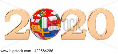 European Championship 2020 Concept. Soccer Ball With European Flags, 3d Rendering Isolated On White