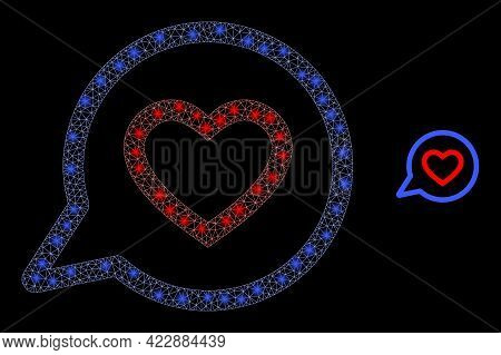 Bright Network Romantic Heart Message With Light Spots. Vector Frame Based On Romantic Heart Message