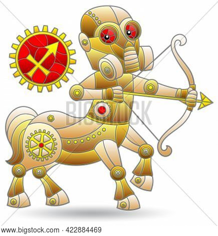 Illustration In The Style Of A Stained Glass Window With A Zodiac Signs Sagittarius, Figure Isolated