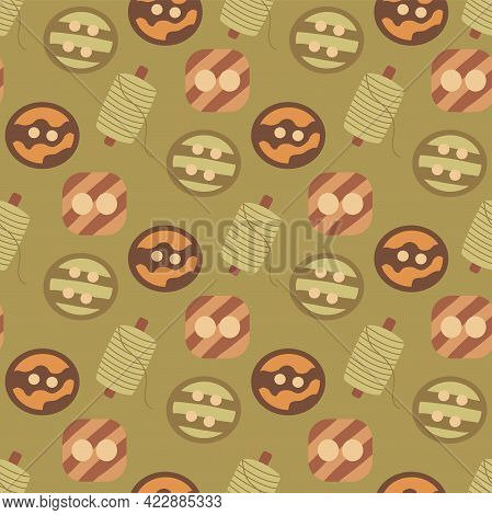 Seamless Pattern Buttons And Spool Of Thread. Colorful Vector Illustration Hand Drawn. Sewing. Fabri