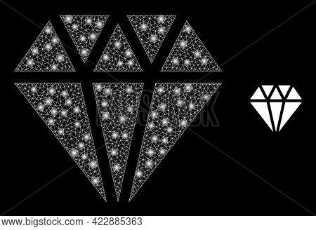 Glowing Mesh Adamant Crystal With Glowing Spots. Vector Constellation Based On Adamant Crystal Icon.