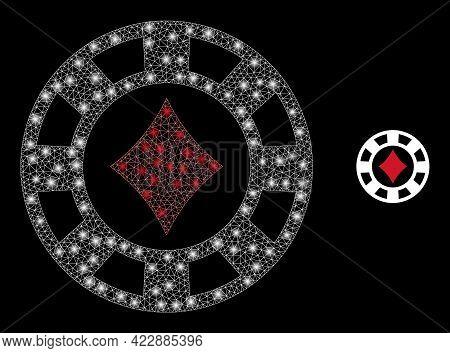 Glossy Mesh Diamonds Casino Chip With Light Spots. Vector Frame Based On Diamonds Casino Chip Icon.
