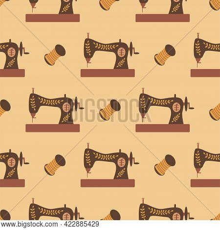 Seamless Pattern Sewing Machine And Thread. Colorful Vector Illustration Hand Drawn. Sewing. Wrappin