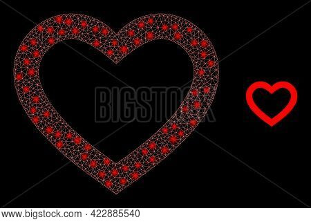 Glossy Mesh Romantic Heart With Lightspots. Vector Carcass Based On Romantic Heart Icon. Sparkle Car