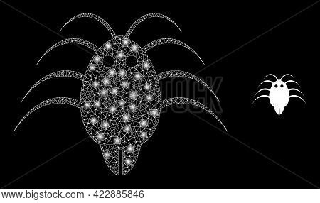 Glowing Mesh Parasite With Glowing Spots. Vector Grid Based On Parasite Icon. Glowing Frame Mesh Par