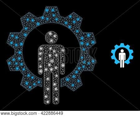 Glossy Net Human Resources With Glowing Spots. Vector Frame Based On Human Resources Icon. Constella