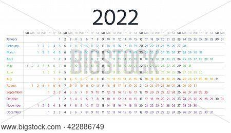 Calendar 2022 Year. Linear Planner Template. Vector. Yearly Horizontal Calender. Week Starts Sunday.
