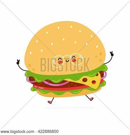 Cute Funny Burger In Glasses Character. Vector Hand Drawn Cartoon Kawaii Character Illustration Icon
