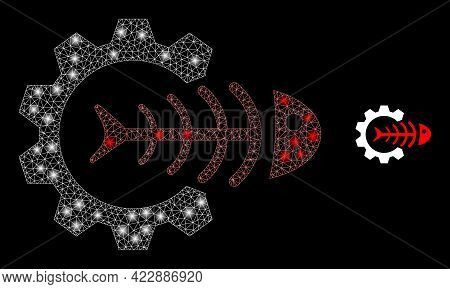Flare Mesh Toxic Industry With Light Spots. Vector Frame Created From Toxic Industry Icon. Glowing F
