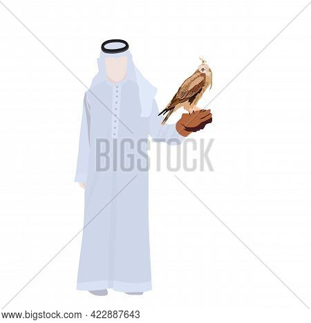 Vector Stock Illustration Of Falconry. The Hawk Sits On The Glove. Traditional Hunting In The East.