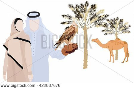 Vector Stock Illustration Of A Muslim Family Man And Woman. Traditional Muslim Clothing Of Kuwait. R