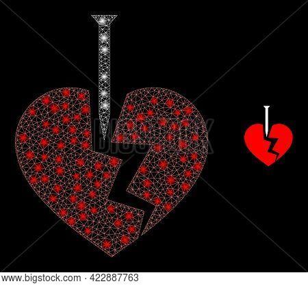 Illuminated Mesh Break Valentine Heart With Light Spots. Vector Frame Based On Break Valentine Heart