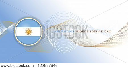 Argentina Independence Day Abstract Background With Argentina Flag Emblem Design. Good Template For