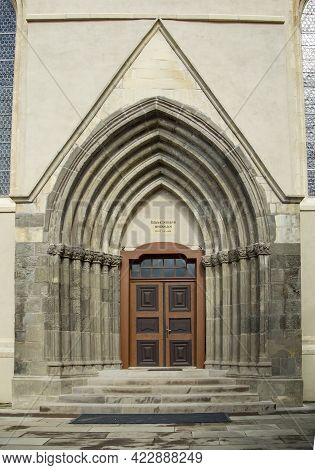 Targu Mures, Mures, Romania - April 23, 2021:  Entrance To The Reformed Church From Medieval Fortres