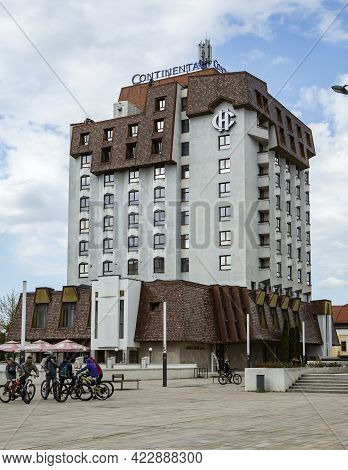Targu Mures, Mures, Romania - April 23, 2021: View Of  Hotel Continental Located In Central Zone On