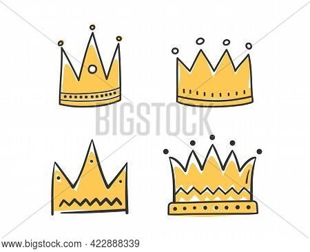 Colored Hand Drawn Doodle Crowns, Four King Or Queen Crowns, Vector Eps10 Illustration