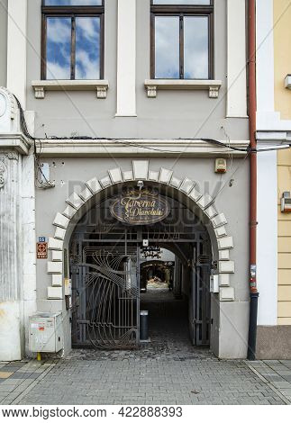 Targu Mures, Mures, Romania - April 24, 2021: The Devil\'s Tavern Entrance On April 24, 2021 In  Tar