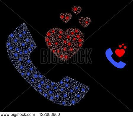 Bright Network Romantic Phone With Glowing Spots. Vector Carcass Based On Romantic Phone Icon. Spark