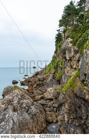 Cliffs In The Ea Municipality Near Lekeitio, Bay Of Biscay In The Cantabrian Sea. Basque Country