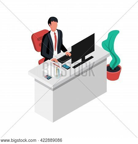 Businessman Sitting At Desk Working On Computer. Vector Illustration Isometric 3d Design. Isolated O