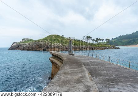 Isla San Nicolas From The Seaport Of The Lekeitio Municipality, Bay Of Biscay In The Cantabrian Sea.