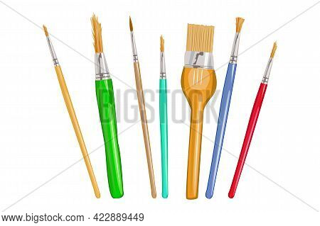 Art Brushes Set Isolated On White Background. Drawing And Painting Tools. Paintbrushes For Painting.