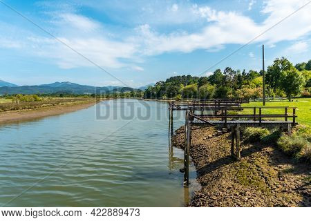 Wooden Piers In The Urdaibai Marshes, A Bizkaia Biosphere Reserve Next To Mundaka. Basque Country