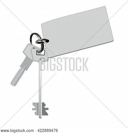 Vector And Illustration Of A Bunch Of Keys. Metal Keychain From The Apartment. To Rent An Apartment,