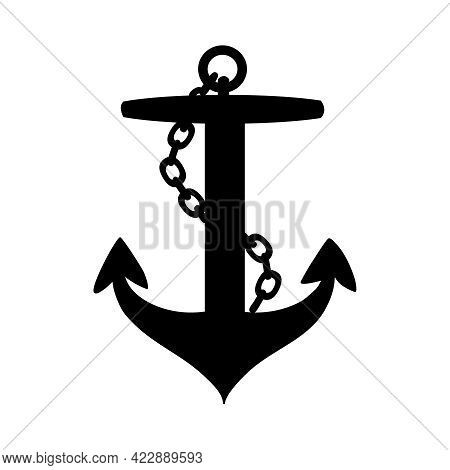 Anchor Icon Isolated On White Background. Ship Or Boat Anchor With Chain Silhouette, Marine Symbol,
