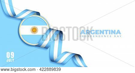 Argentina Independence Day Background Template Design With Argentina Emblem Flag And Flying Blue Whi