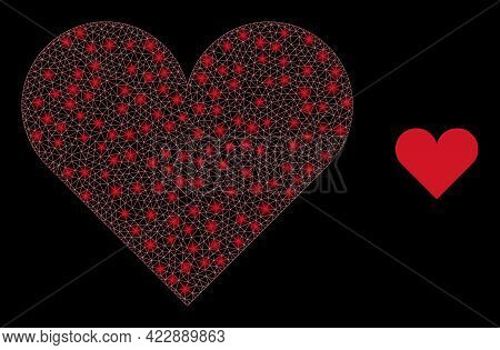 Constellation Mesh Playing Card Heart Suit With Light Spots. Vector Grid Based On Playing Card Heart