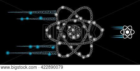 Glossy Net Rush Atom With Glowing Spots. Vector Frame Based On Rush Atom Icon. Glowing Frame Mesh Ru