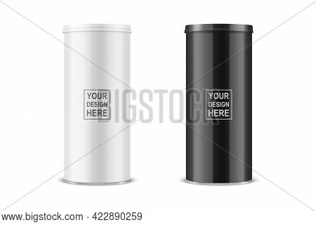Vector 3d Realistic Blank Glossy White, Black Metal Tin Can With Lid, Canned Food, Potato Chips Pack