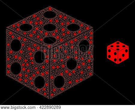 Bright Net Dice Cube With Lightspots. Vector Grid Based On Dice Cube Icon. Bright Frame Polygonal Di