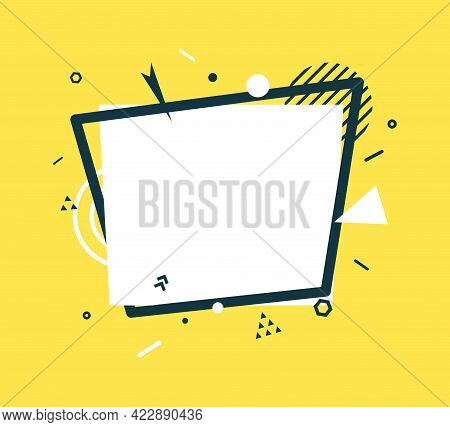 White Rectangle And Black Frame In Flat Style. Memphis Art Banner With Abstract Geometric Shapes. Ou