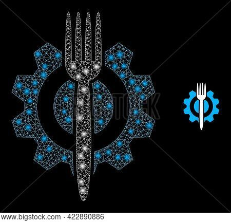 Bright Mesh Food Hitech With Glowing Spots. Vector Frame Based On Food Hitech Icon. Glowing Carcass