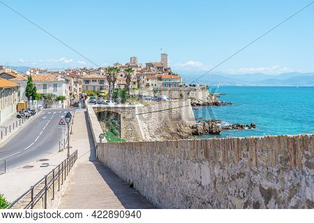 Antibe, France - 04.06.2021: Antibes French City Located On The French Riviera. Landscape View On Th