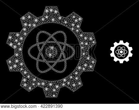 Constellation Mesh Atomic Industry With Lightspots. Vector Frame Based On Atomic Industry Icon. Spar