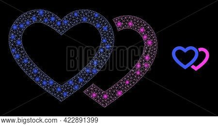 Flare Mesh Romantic Hearts With Light Spots. Vector Model Based On Romantic Hearts Icon. Flare Frame