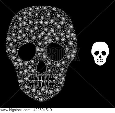 Glowing Mesh Skull With Glowing Spots. Vector Constellation Based On Skull Icon. Illuminated Carcass