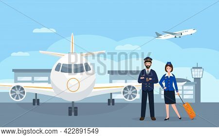 Pilot And Stewardess Characters At The Airport Near Plane. Airplane Staff Or Crew In Uniform. Profes