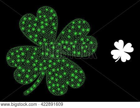 Constellation Mesh Lucky Clover Leaf With Light Spots. Vector Constellation Generated From Lucky Clo