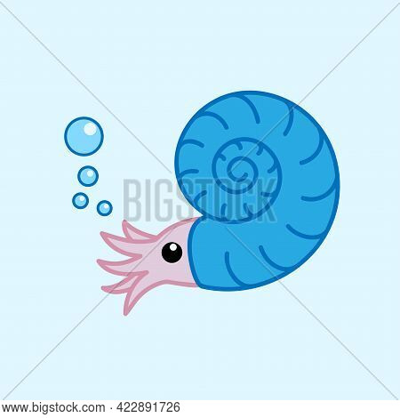 Cute Cartoon Ammonite With Blue Shell. Funny Prehistoric Character. Nautilus Species. Vector Design