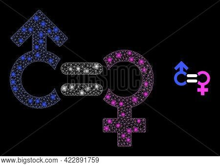 Glossy Net Genders Relation Symbol With Glowing Spots. Vector Frame Generated From Genders Relation